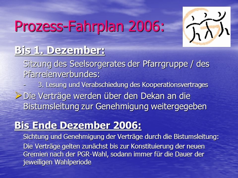 Prozess-Fahrplan 2006: Bis 1. Dezember: Bis Ende Dezember 2006: