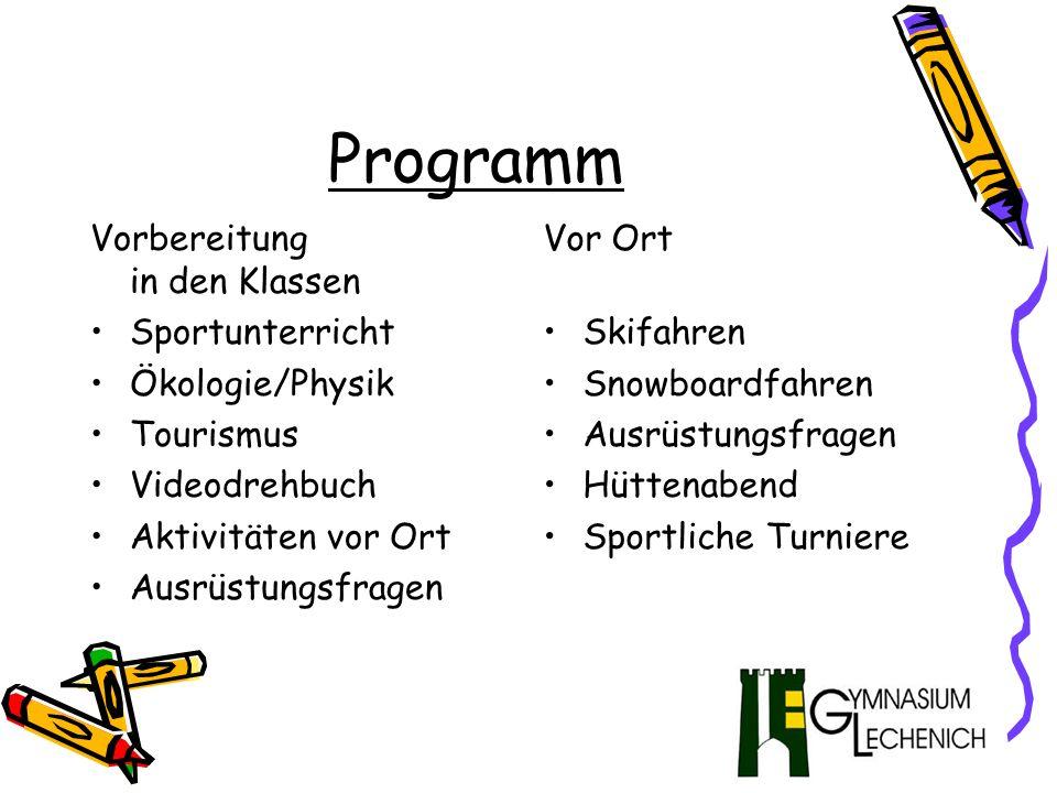 Programm Vorbereitung in den Klassen Sportunterricht Ökologie/Physik