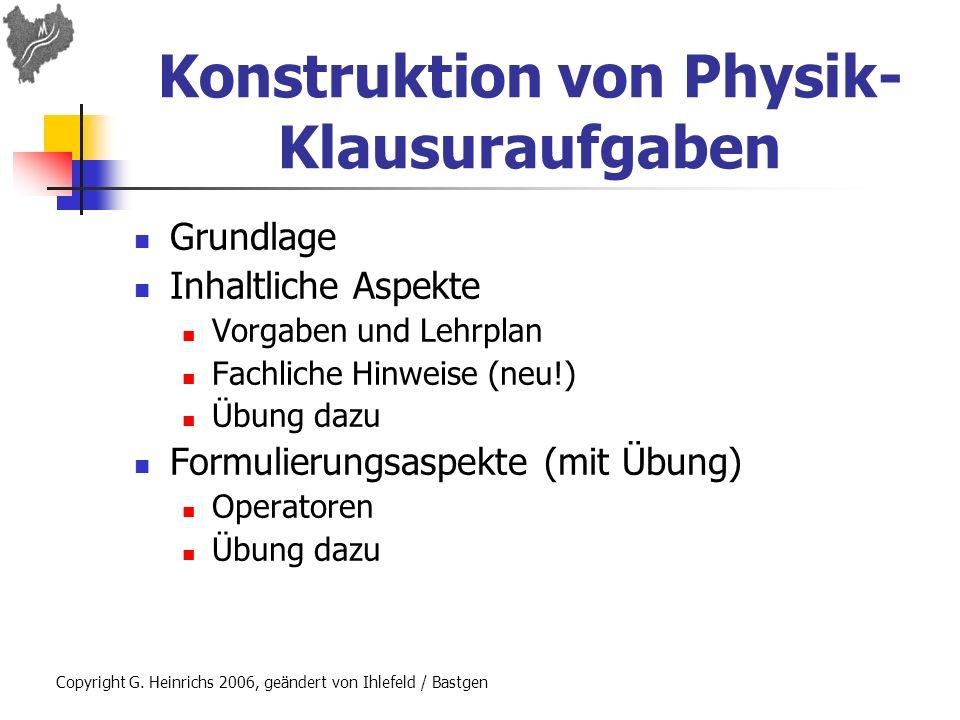 Konstruktion von Physik-Klausuraufgaben