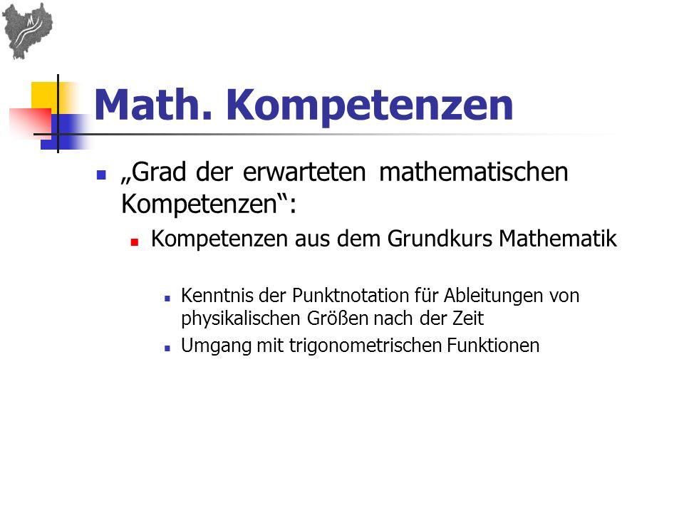 """Math. Kompetenzen """"Grad der erwarteten mathematischen Kompetenzen :"""