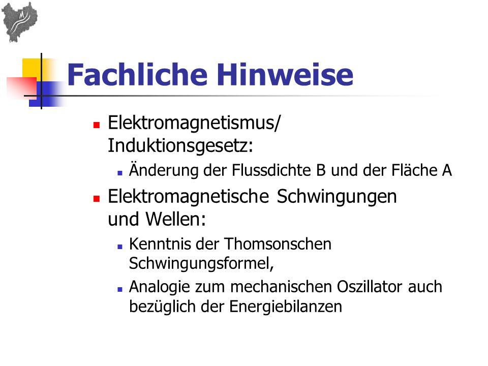 Fachliche Hinweise Elektromagnetismus/ Induktionsgesetz: