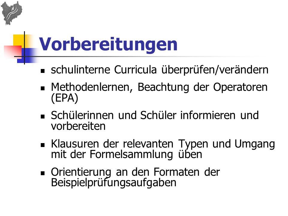 Vorbereitungen schulinterne Curricula überprüfen/verändern
