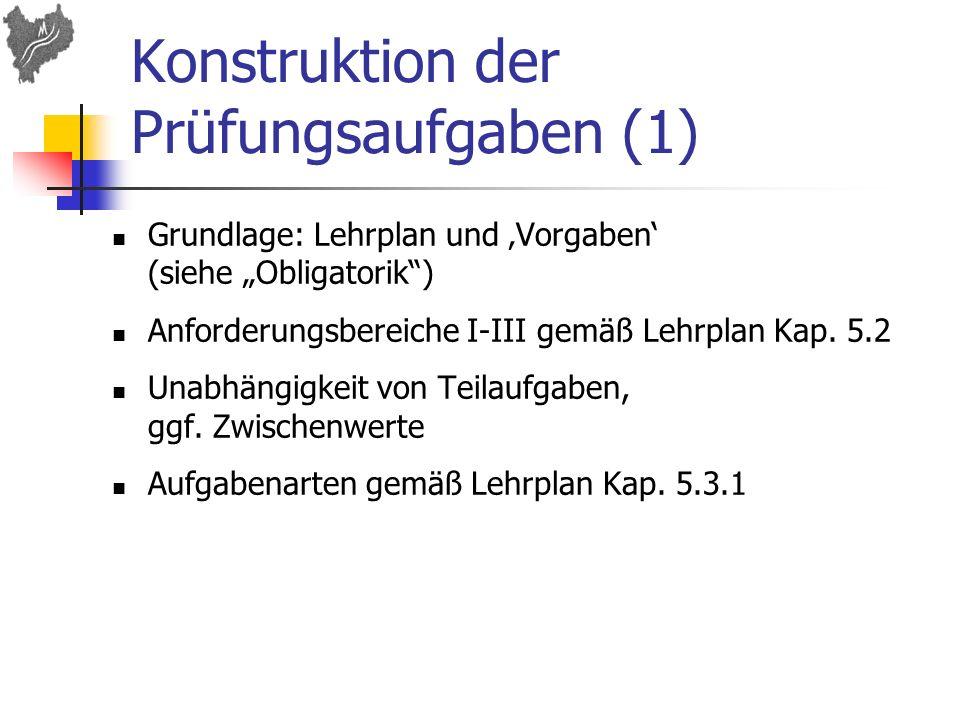 Konstruktion der Prüfungsaufgaben (1)