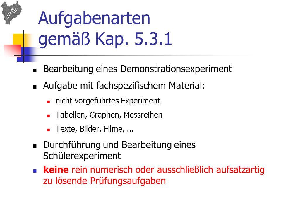 Aufgabenarten gemäß Kap. 5.3.1