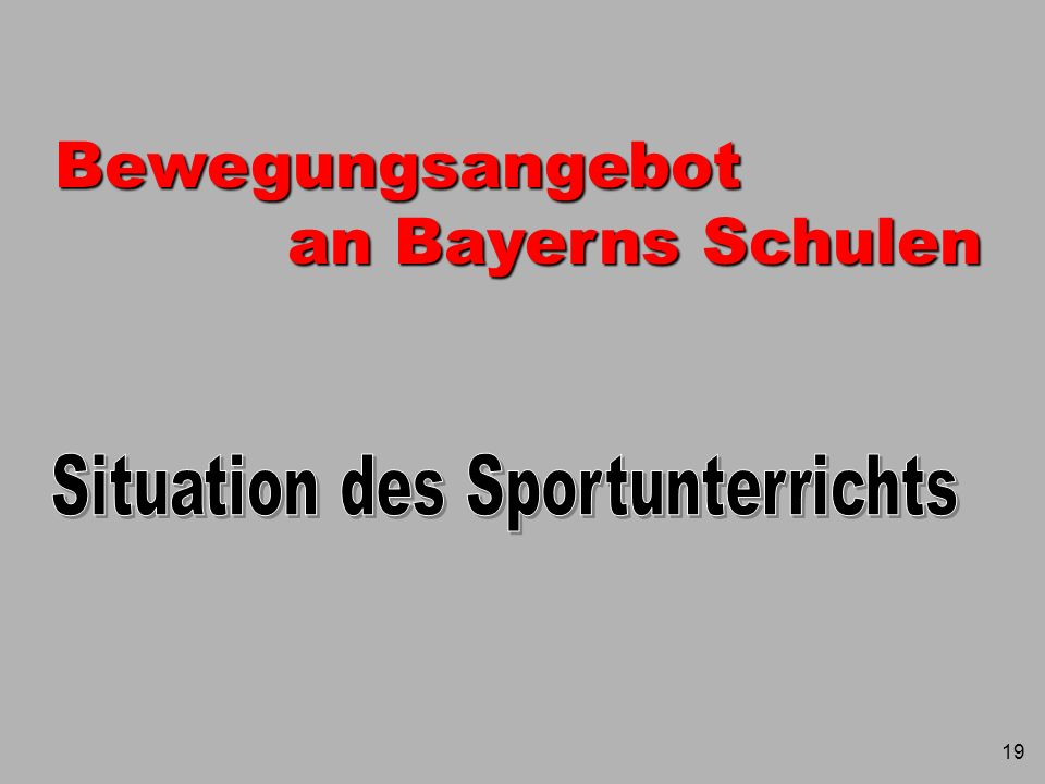 Situation des Sportunterrichts