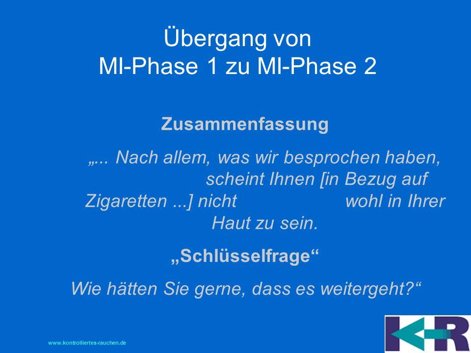 Übergang von MI-Phase 1 zu MI-Phase 2