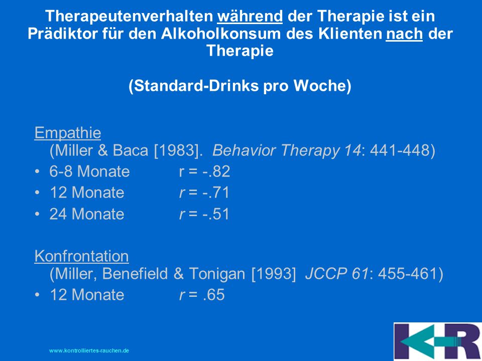 Therapeutenverhalten während der Therapie ist ein Prädiktor für den Alkoholkonsum des Klienten nach der Therapie (Standard-Drinks pro Woche)