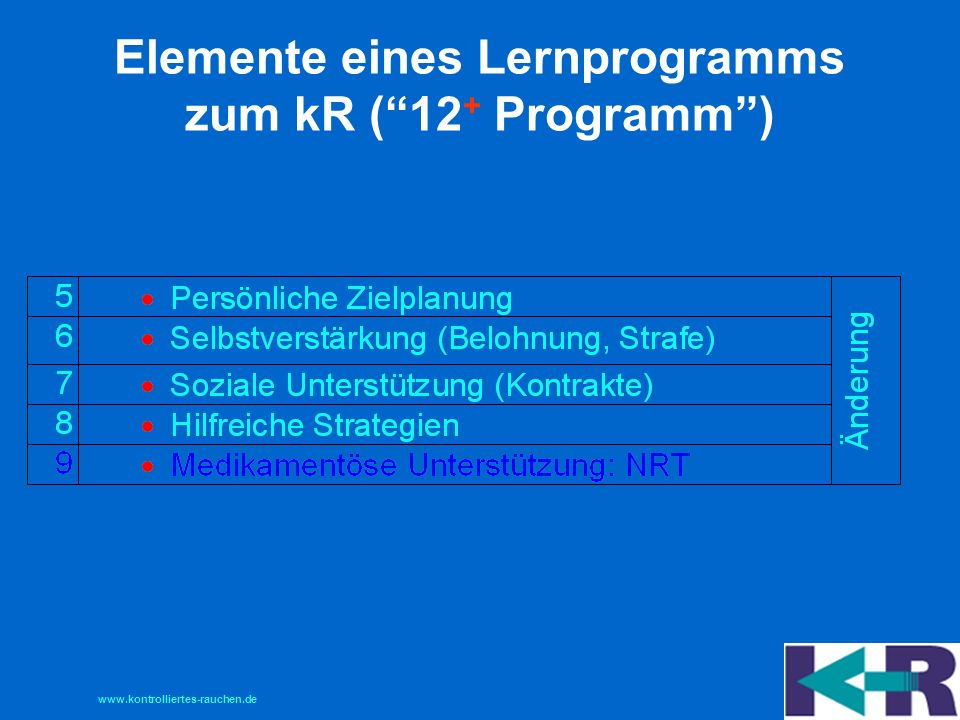 Elemente eines Lernprogramms zum kR ( 12+ Programm )