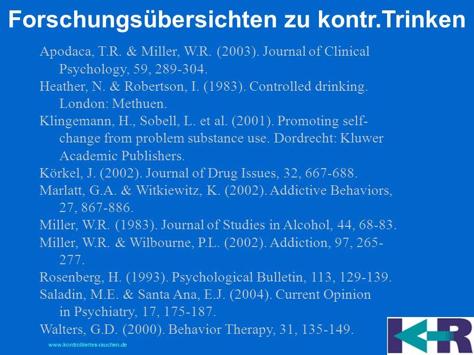 Forschungsübersichten zu kontr.Trinken