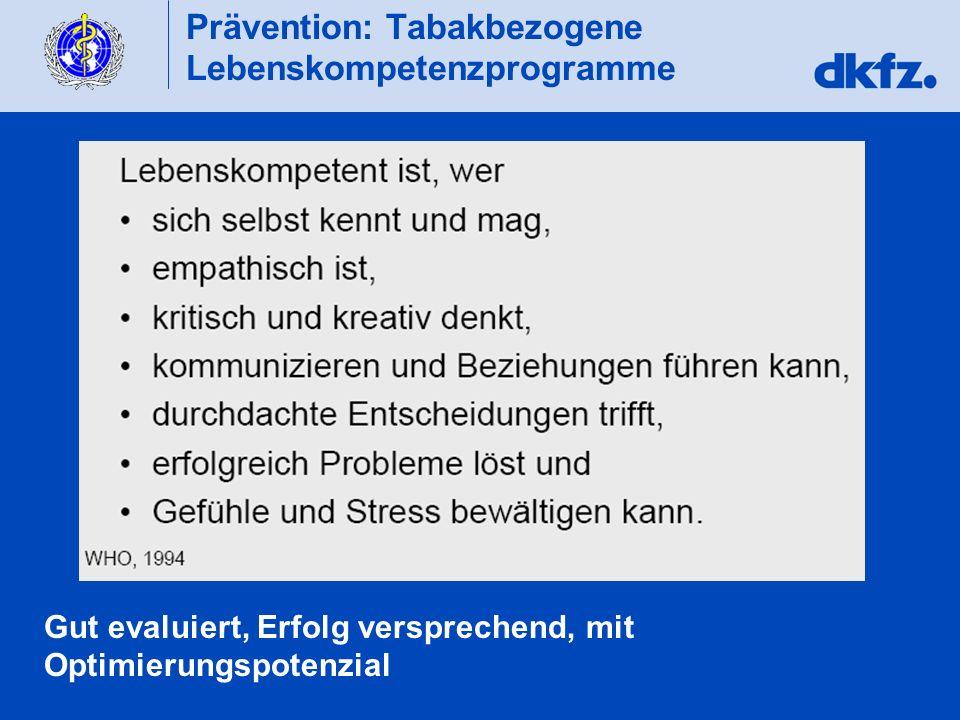 Prävention: Tabakbezogene Lebenskompetenzprogramme