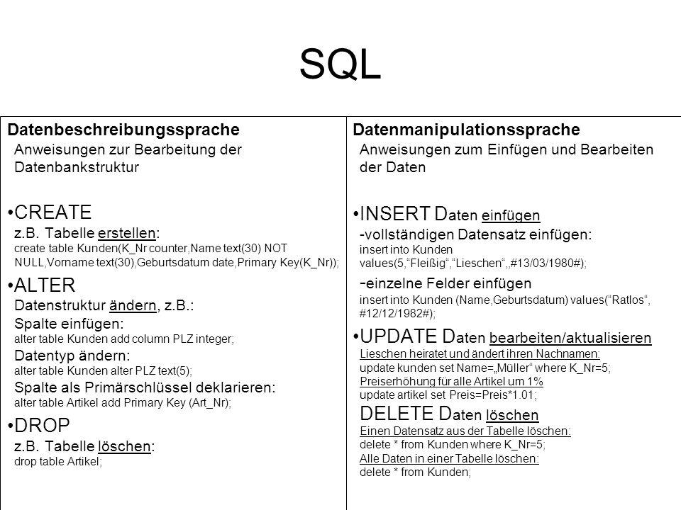 SQL Datenbeschreibungssprache Anweisungen zur Bearbeitung der Datenbankstruktur.