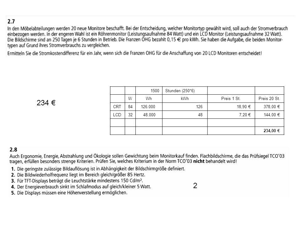 234 € 2 1500 Stunden (250*6) W Wh kWh Preis 1 St. Preis 20 St. CRT 84