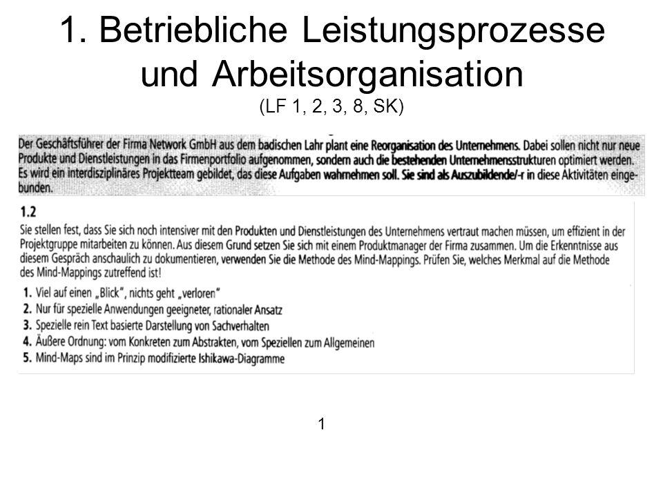 1. Betriebliche Leistungsprozesse und Arbeitsorganisation (LF 1, 2, 3, 8, SK)