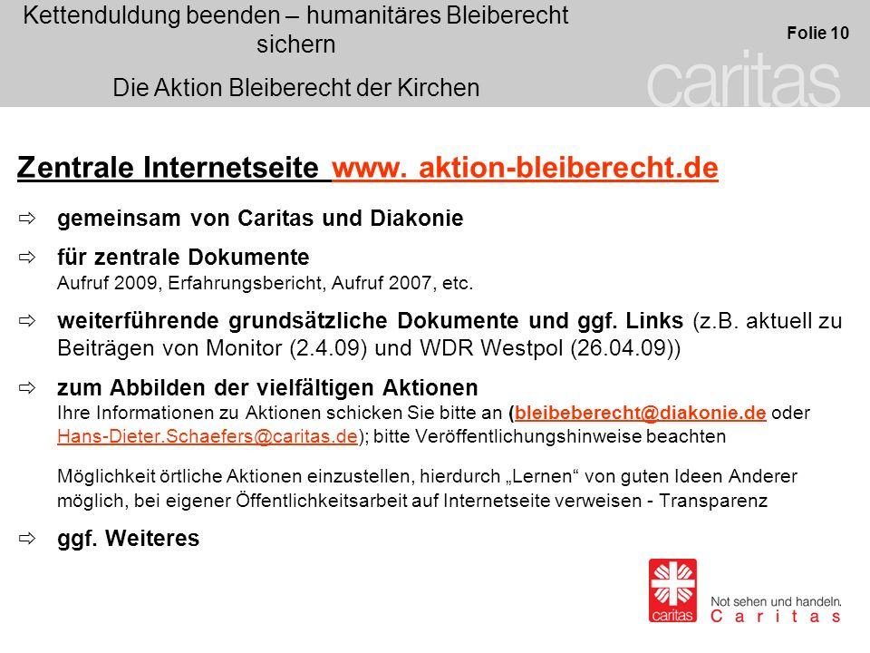 Zentrale Internetseite www. aktion-bleiberecht.de