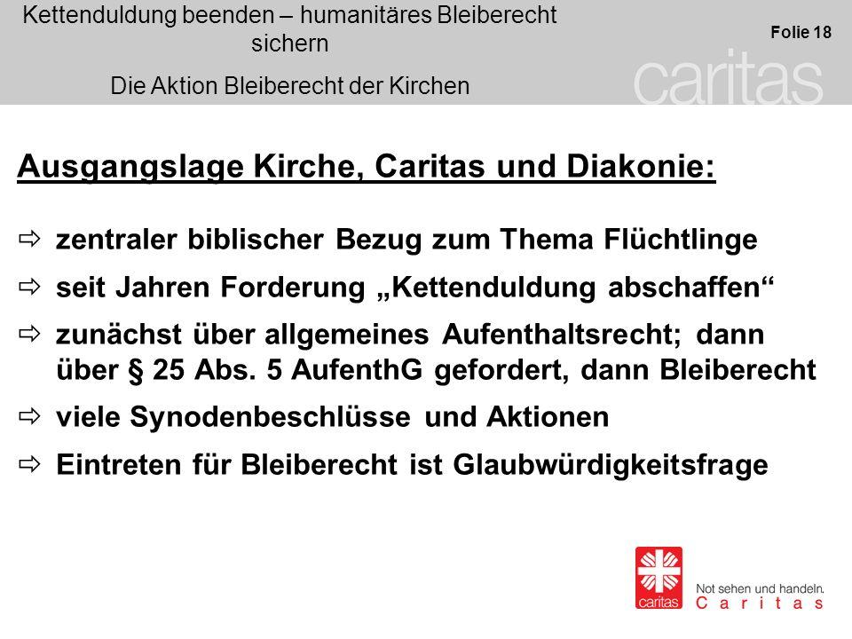 Ausgangslage Kirche, Caritas und Diakonie: