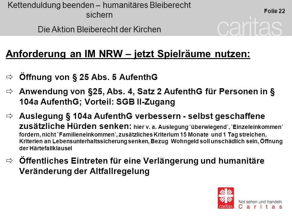 Anforderung an IM NRW – jetzt Spielräume nutzen: