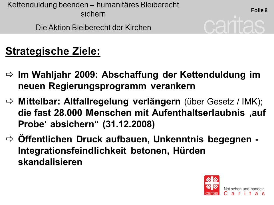 Strategische Ziele: Im Wahljahr 2009: Abschaffung der Kettenduldung im neuen Regierungsprogramm verankern.