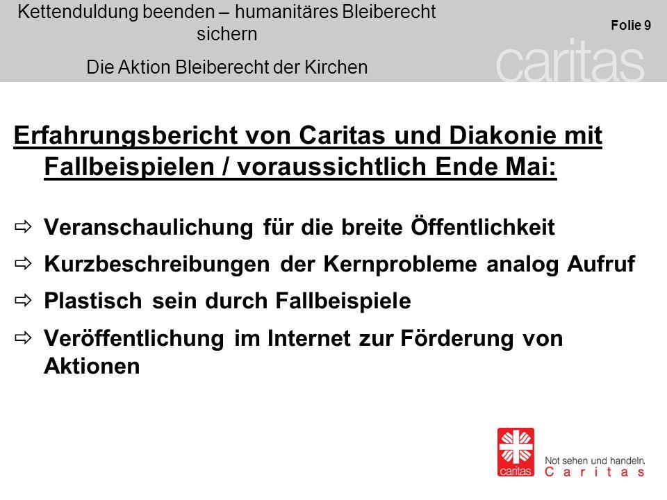 Erfahrungsbericht von Caritas und Diakonie mit Fallbeispielen / voraussichtlich Ende Mai: