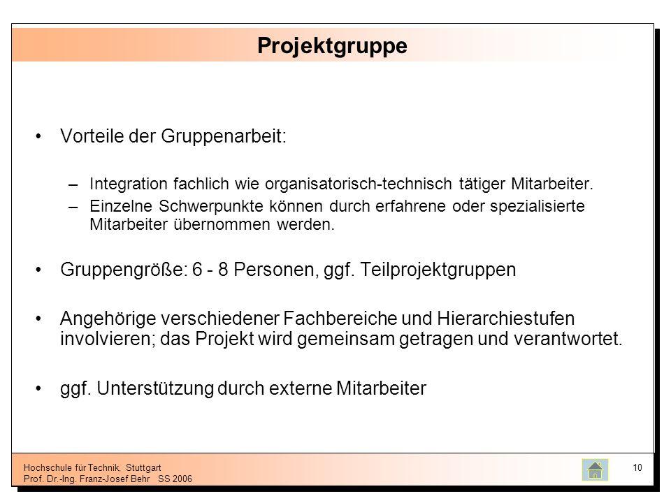 Projektgruppe Vorteile der Gruppenarbeit: