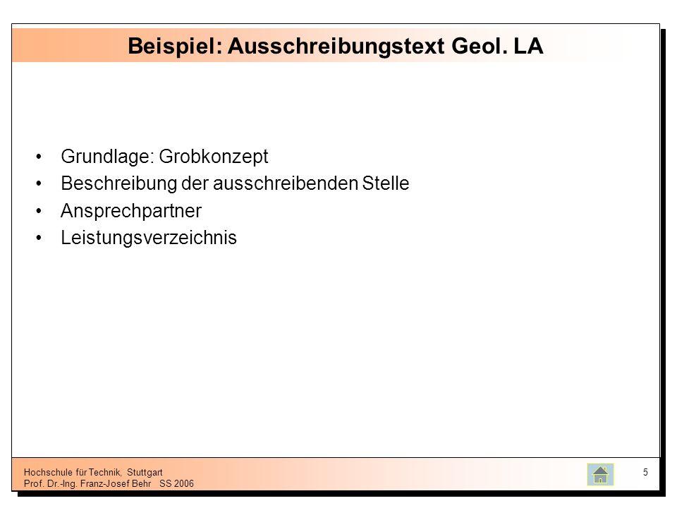 Beispiel: Ausschreibungstext Geol. LA