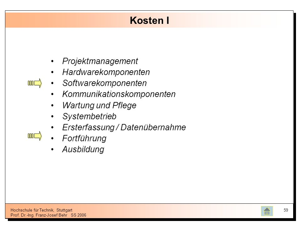 Kosten I Projektmanagement Hardwarekomponenten Softwarekomponenten