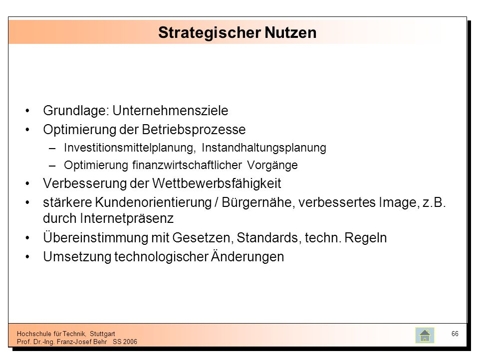 Strategischer Nutzen Grundlage: Unternehmensziele