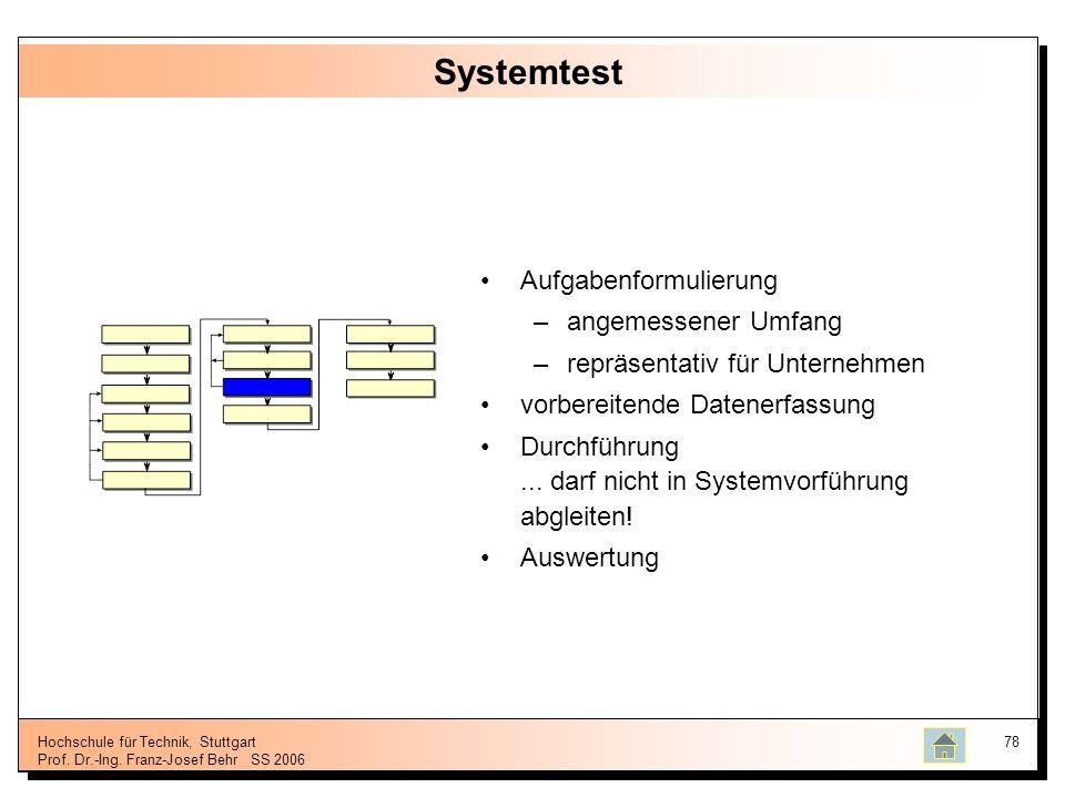 Systemtest Aufgabenformulierung angemessener Umfang