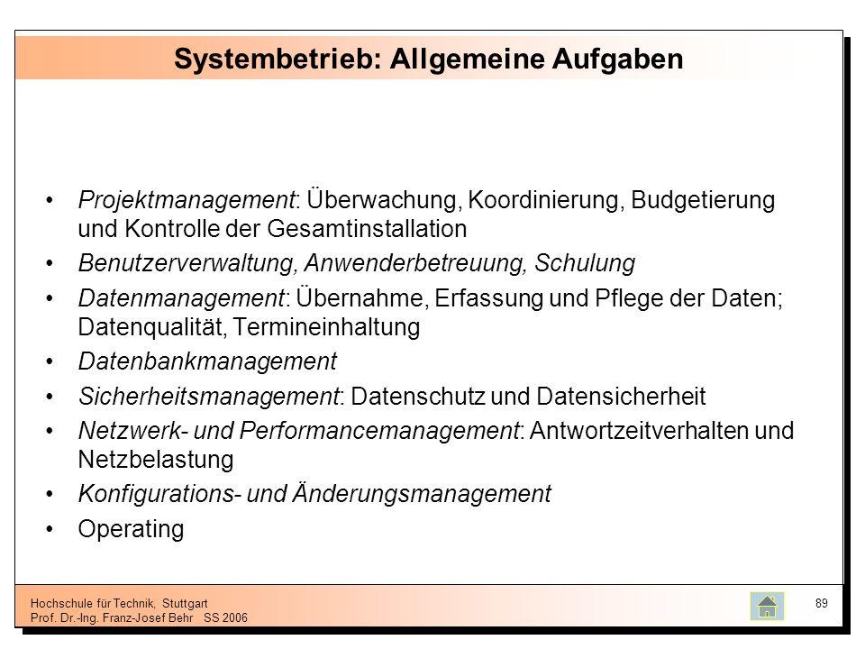 Systembetrieb: Allgemeine Aufgaben