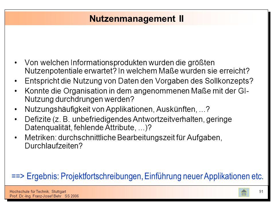 Nutzenmanagement II Von welchen Informationsprodukten wurden die größten Nutzenpotentiale erwartet In welchem Maße wurden sie erreicht
