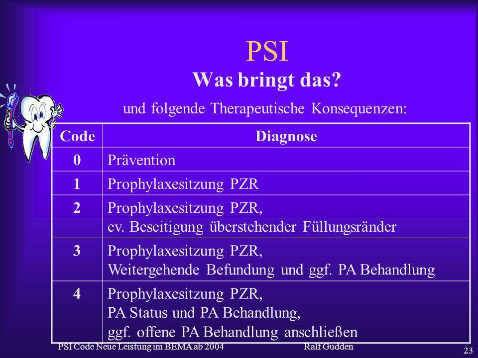 PSI Was bringt das und folgende Therapeutische Konsequenzen: Code