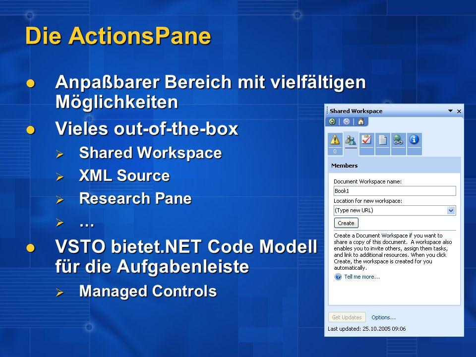 Die ActionsPane Anpaßbarer Bereich mit vielfältigen Möglichkeiten