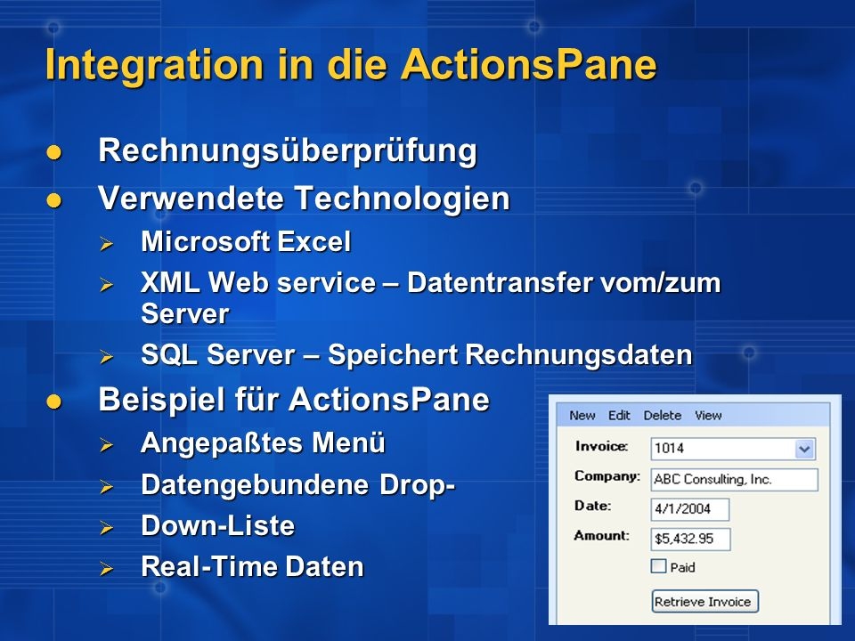 Integration in die ActionsPane