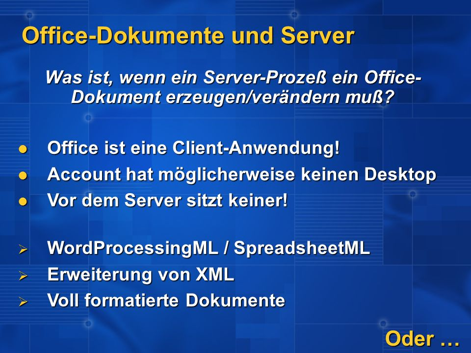 Office-Dokumente und Server
