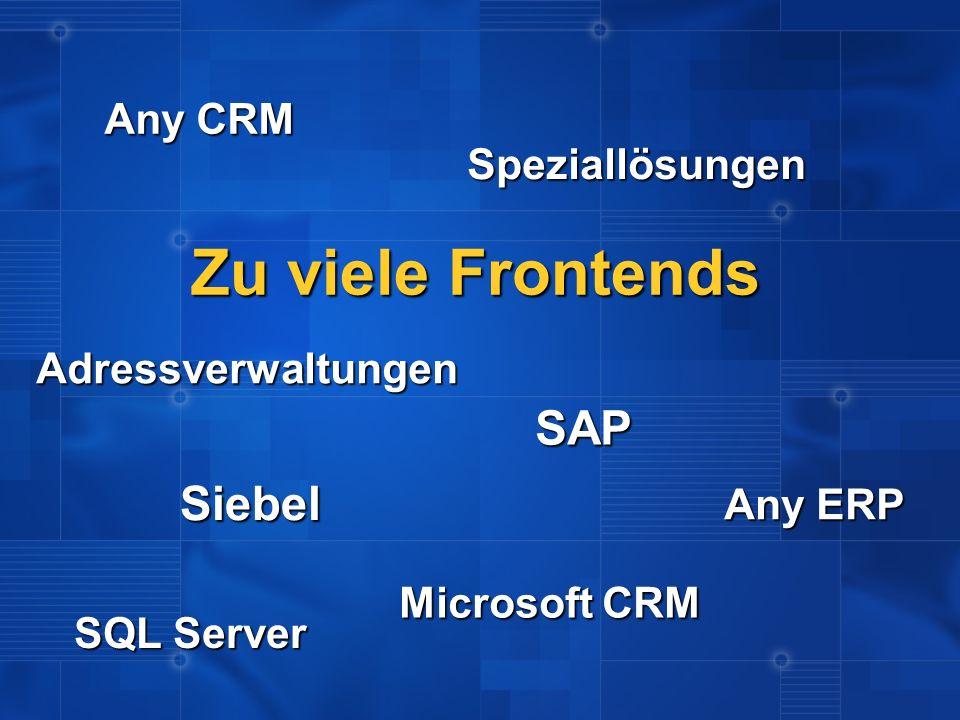 Zu viele Frontends SAP Siebel Any CRM Speziallösungen