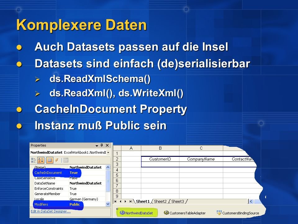Komplexere Daten Auch Datasets passen auf die Insel
