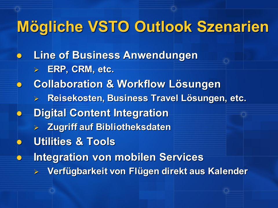 Mögliche VSTO Outlook Szenarien