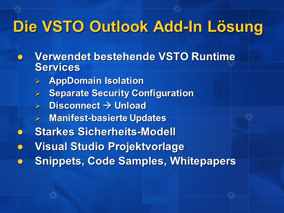 Die VSTO Outlook Add-In Lösung
