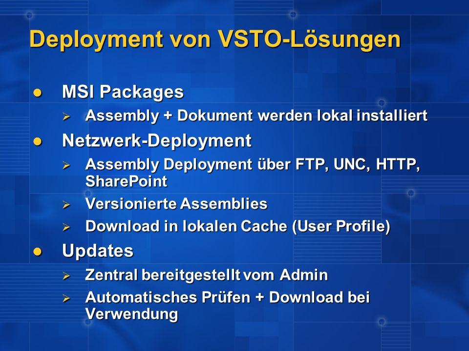 Deployment von VSTO-Lösungen