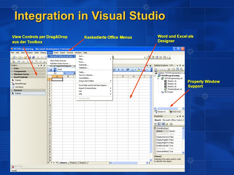 Integration in Visual Studio