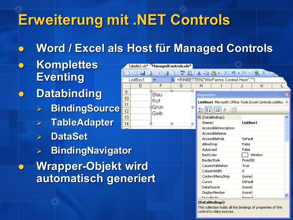Erweiterung mit .NET Controls