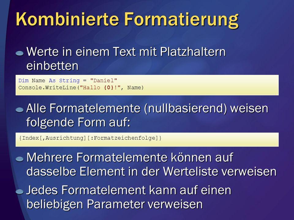 Kombinierte Formatierung