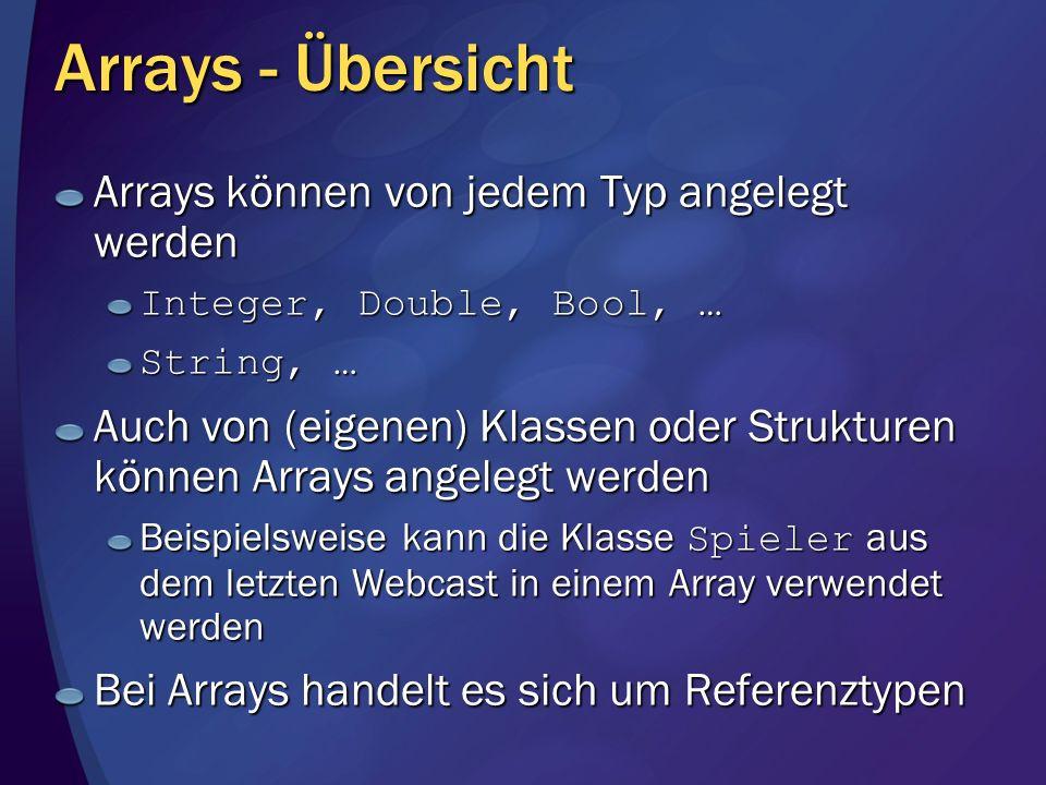 Arrays - Übersicht Arrays können von jedem Typ angelegt werden