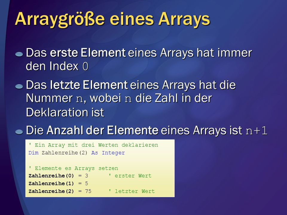 Arraygröße eines Arrays