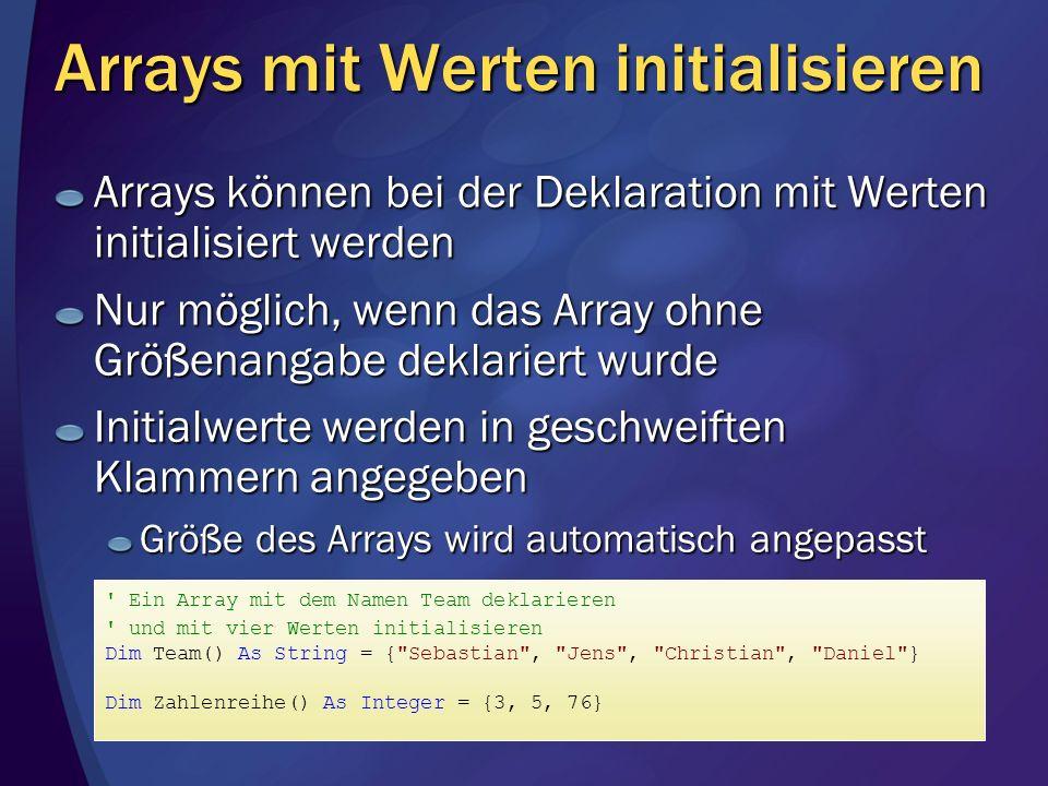 Arrays mit Werten initialisieren
