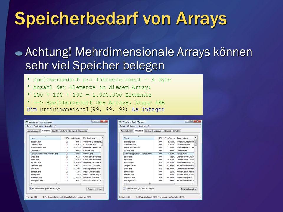 Speicherbedarf von Arrays