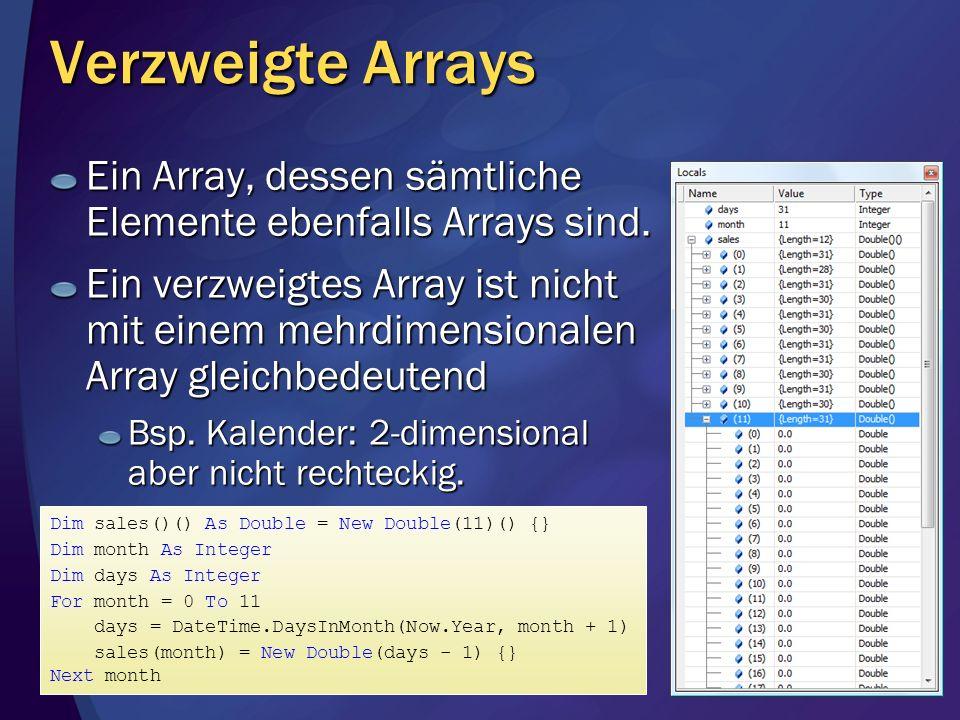 Verzweigte Arrays Ein Array, dessen sämtliche Elemente ebenfalls Arrays sind.
