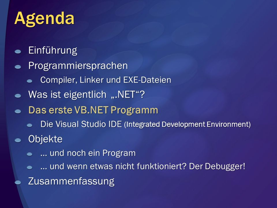 """Agenda Einführung Programmiersprachen Was ist eigentlich """".NET"""