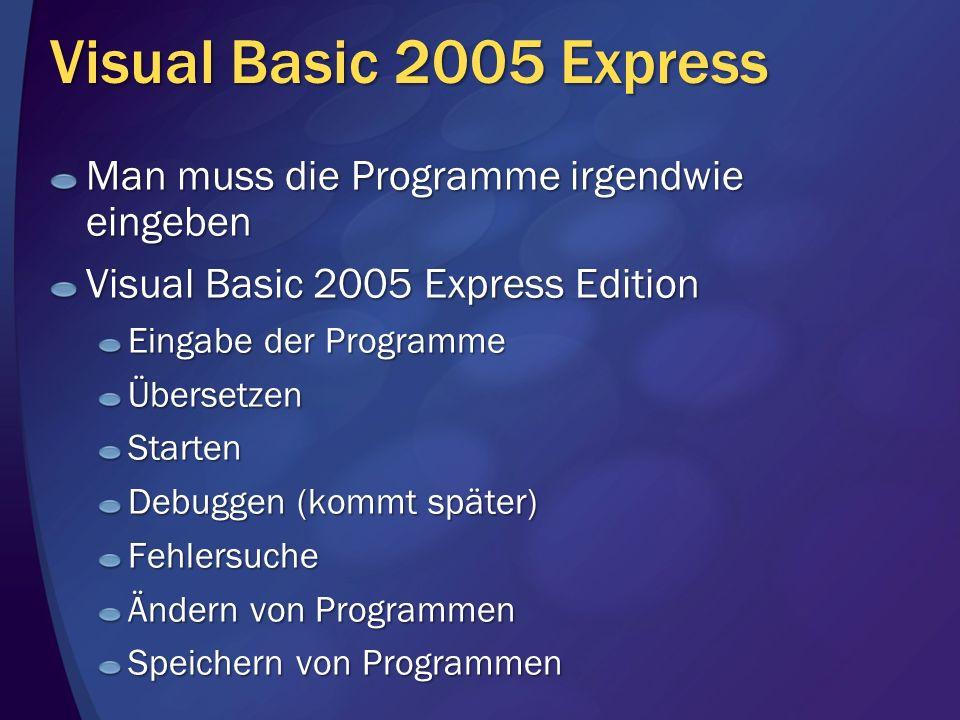 Visual Basic 2005 Express Man muss die Programme irgendwie eingeben