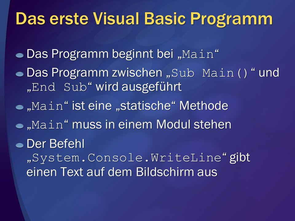 Das erste Visual Basic Programm