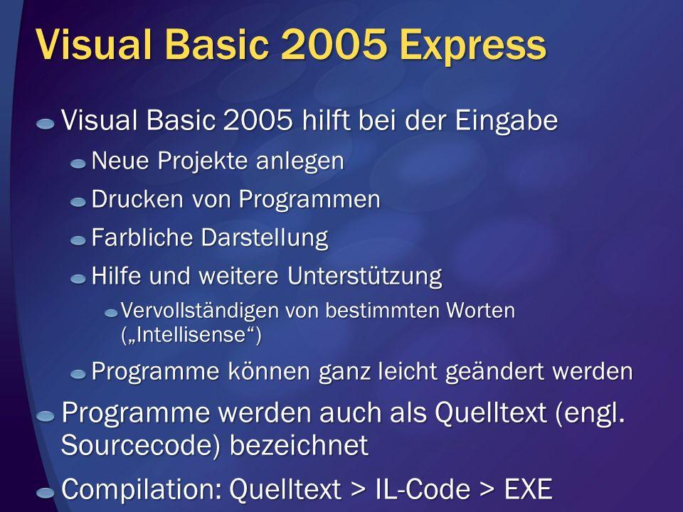 Visual Basic 2005 Express Visual Basic 2005 hilft bei der Eingabe